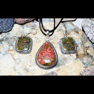 Green Epidote Unakite Pendant & Earrings Set